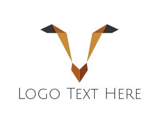 Deer - Origami Deer Face logo design