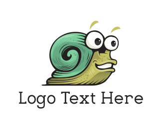 Slow - Green Snail logo design