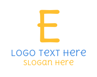 Infant - Handwritten Yellow Letter E logo design