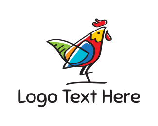 Chicken - Colorful Rooster logo design