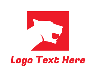 Business - Red Outline Panther logo design