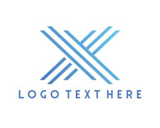 Freezer - Modern Blue Letter X logo design