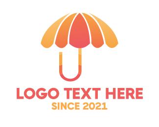 Rain - Orange & Pink Umbrella logo design