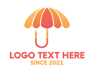 Umbrella - Orange & Pink Umbrella logo design