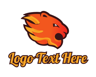 Burn - Fire Tiger logo design