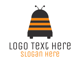 Black And Orange - Wasp Robot logo design
