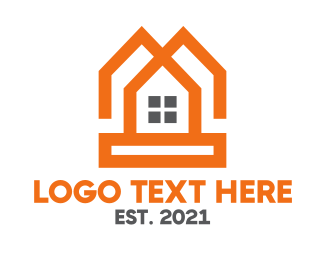 Duplex - Orange Twin House logo design