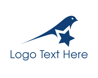 Astronaut - Blue Star Bird logo design