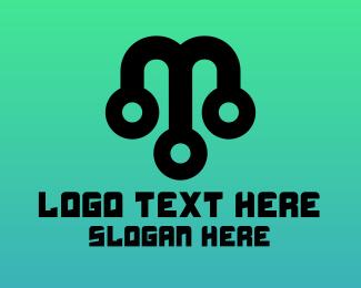 Circuitry - Abstract M Tech logo design