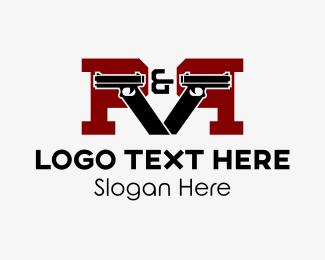 Pistol - Gun Letter P logo design