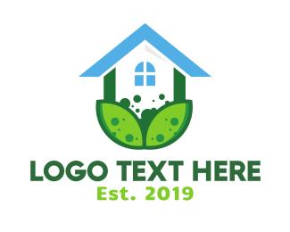 Greenhouse - Green Plant House logo design