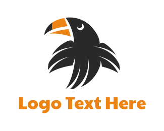 Toucan - Flying Black Toucan logo design