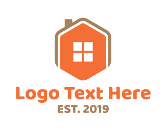 Roofing - Home Icon Hexagon  logo design
