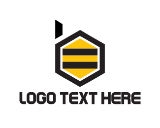Honeycomb - Bee Letter B logo design