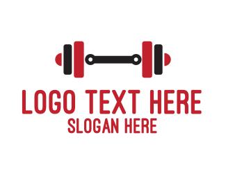 Bodybuilding - Red & Black Weights logo design
