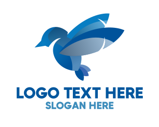 Freedom - Blue Abstract Bird logo design
