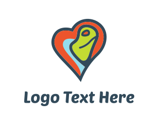 Chameleon - Heart Turtle logo design