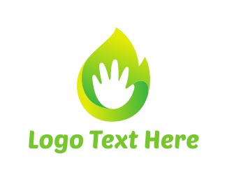 Hand - Green Hand logo design