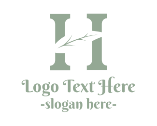 Initial - Abstract H Twig logo design