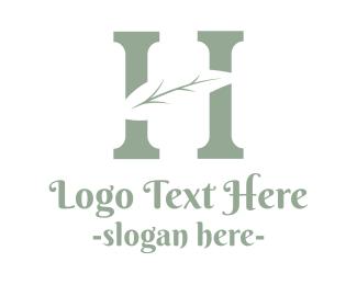 Massage Parlor - Abstract H Twig logo design