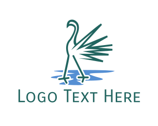 Lake - Green Flamingo logo design