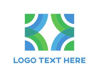 Curves - Green & Blue Circles logo design