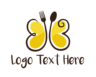 Spoon - Cutlery Butterfly  logo design