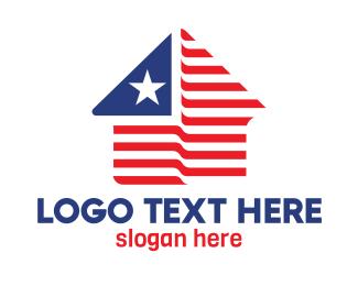 Country - USA House Shape logo design