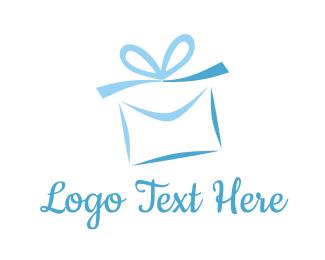 Bow - Blue Present logo design