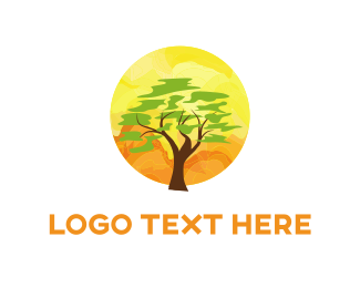 Climate - Tree & Sunset  logo design