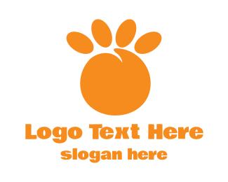 Paw - Orange Peach Paw logo design