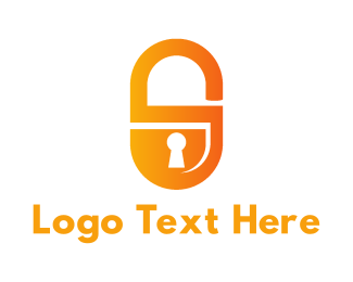 Secure - Orange Padlock logo design