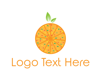 Green And Orange - Orange Pizza logo design