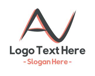 Alphabet - Audio Visual AV logo design