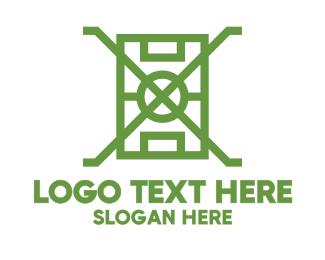 Football - Green X Field logo design