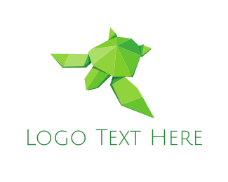 Paper - Origami Green Turtle logo design