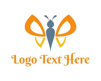 Cute Orange Butterfly Logo
