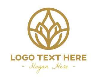 Relax - Gold Lotus Flower Outline logo design