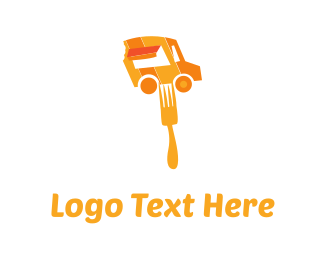 Eating - Orange Food Truck logo design