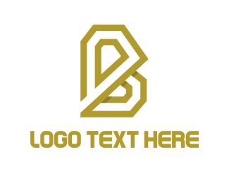 Minimalist - Golden Letter B logo design