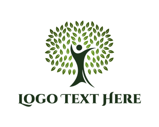 Oak Tree - Green Human Oak logo design