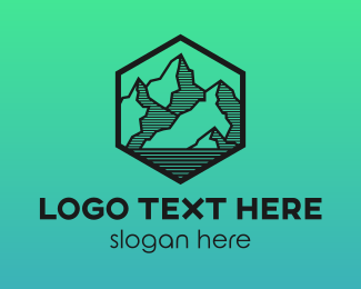 Hiking - Hexagon Mountain Peak logo design