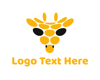 Africa - Abstract Giraffe Circle logo design