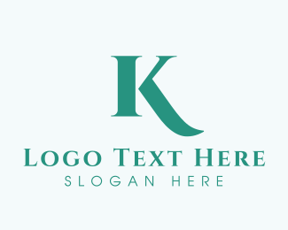 Handwriting - Mint Letter K logo design