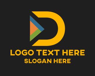 Media Player - Yellow Letter D logo design