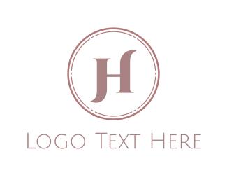 Makeup Artist - Elegant Pink Letter H logo design