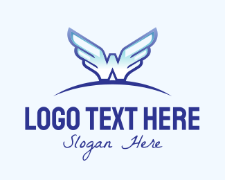 Pilot - Blue Wide Wings logo design