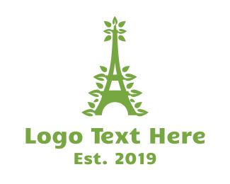 French - Green Leafy Eiffel Tower logo design