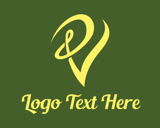 Green And Yellow - Swirly Yellow V logo design