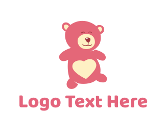 Stuffed Animal - Pink Teddy Bear logo design